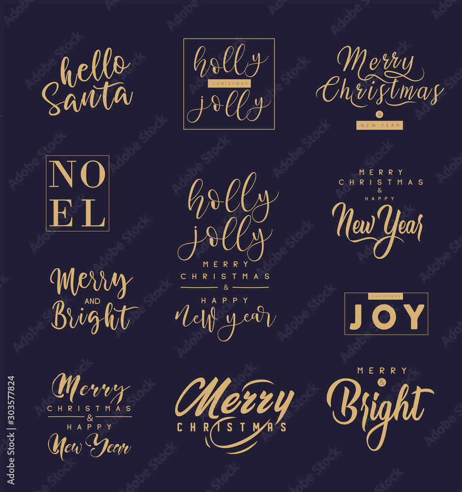 Fototapeta Merry Christmas and happy New Year set with lettering typographic compositions for the poster and greeting card. Calligraphy for winter holiday. Vector
