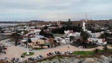 Lighthouse And Plaza In Colonia Del Sacramento Uruguay, Aerial Tilt