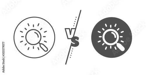 Obraz Find document sign. Versus concept. Search line icon. Magnify glass. Line vs classic search icon. Vector - fototapety do salonu