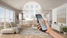 Smart Home Technology Interface On Phone App, Augmented Reality, Internet Of Things, Interior Design Of Modern Kitchen With Connected Objects, Woman Hand Holding Remote Control Device