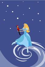 Nutcracker. Ballet Dancer. Ballet Dancer Dances Around, Under The Falling Snow With Toy Nutcracker