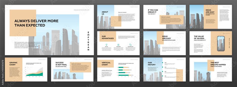 Fototapeta Modern minimalistic presentation templates set for business with cityscape vector illustration on background