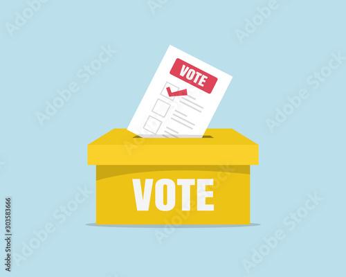 Fototapeta Puts voting ballot in ballot box. Voting and election concept