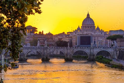Sunset view of Basilica St Peter, bridge Sant Angelo and river Tiber in Rome Wallpaper Mural