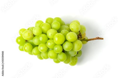 Fototapeta Fresh green grape isolated on white background top view. obraz