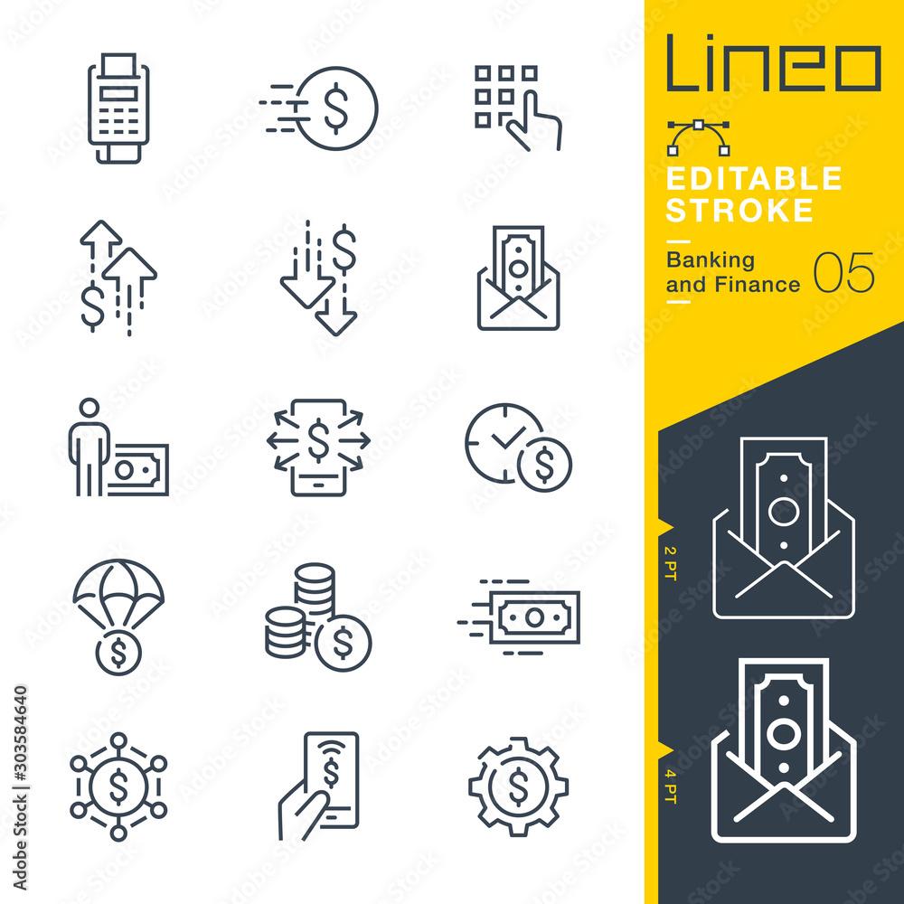 Fototapeta Lineo Editable Stroke - Banking and Finance line icons