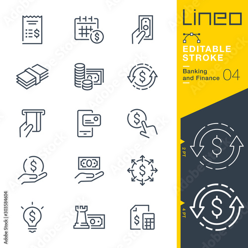 Valokuva Lineo Editable Stroke - Banking and Finance line icons