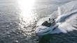 luxury motor boat in navigation aerial view
