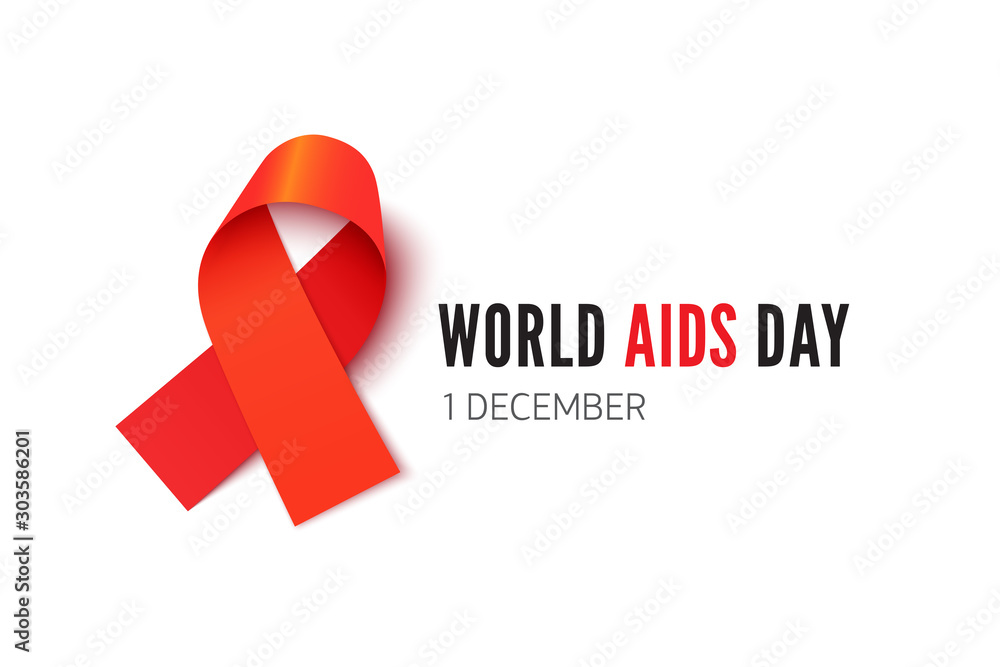 Fototapeta World AIDS day, awareness month banner vector template. HIV positive people support, tolerance poster design element. Red solidarity ribbon illustration with typography isolated on white background