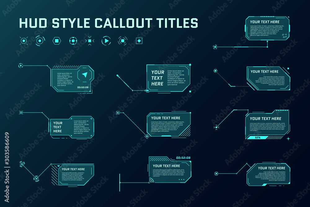 Fototapeta HUD futuristic style callout titles. Information call box bars and modern digital info frame layout templates. Interface UI and GUI element set. Vector illustration