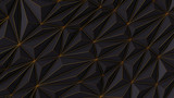 Abstract black low poly background with copy space and golden stripe 3d render