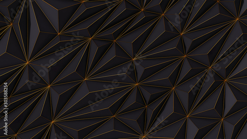Abstract black low poly background with copy space and golden stripe 3d render - 303588254