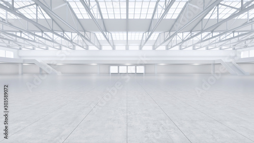 Fotomural 3D render of empty exhibition space