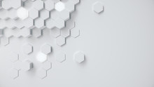 White Geometric Hexagonal Abst...