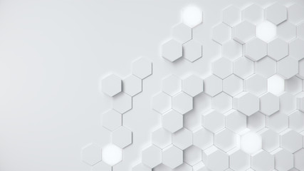 White geometric hexagonal abstract background. Surface polygon pattern with glowing hexagons, hexagonal honeycomb. Abstract white self-luminous hexagons. Futuristic abstract background 3D Illustration