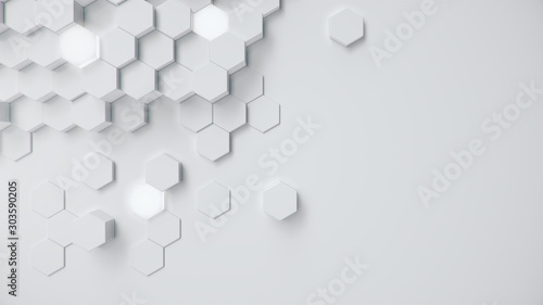 White geometric hexagonal abstract background. Surface polygon pattern with glowing hexagons, hexagonal honeycomb. Abstract white self-luminous hexagons. Futuristic abstract background 3D Illustration - 303590205