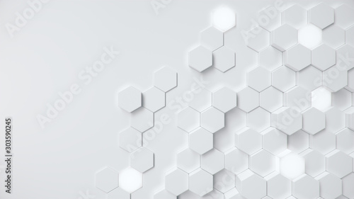 White geometric hexagonal abstract background. Surface polygon pattern with glowing hexagons, hexagonal honeycomb. Abstract white self-luminous hexagons. Futuristic abstract background 3D Illustration - 303590245