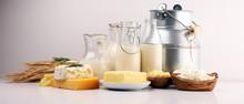 Different  Healthy Dairy Produ...