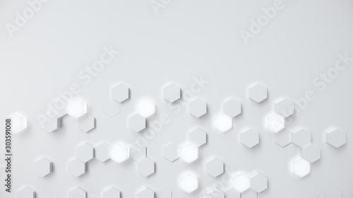 Obraz White geometric hexagonal abstract background. Surface polygon pattern with glowing hexagons, hexagonal honeycomb. Abstract white self-luminous hexagons. Futuristic abstract background 3D Illustration - fototapety do salonu