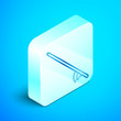 Isometric line Surfboard icon isolated on blue background. Surfing board. Extreme sport. Sport equipment. Silver square button. Vector Illustration