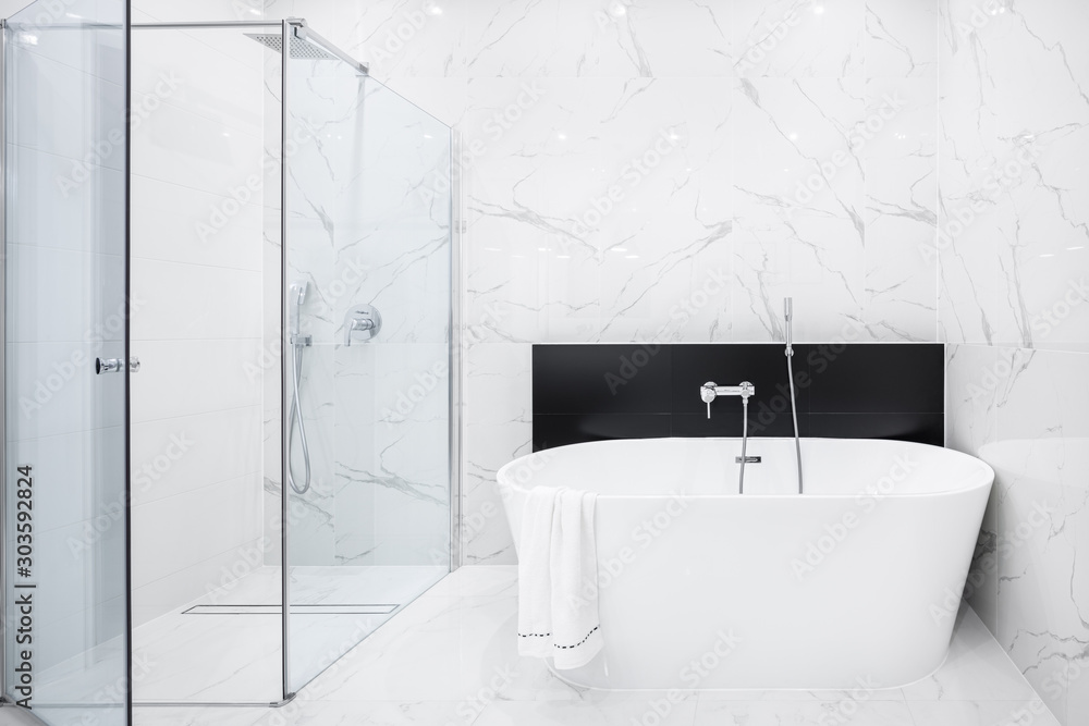 Fototapeta Elegant bathroom in white marble