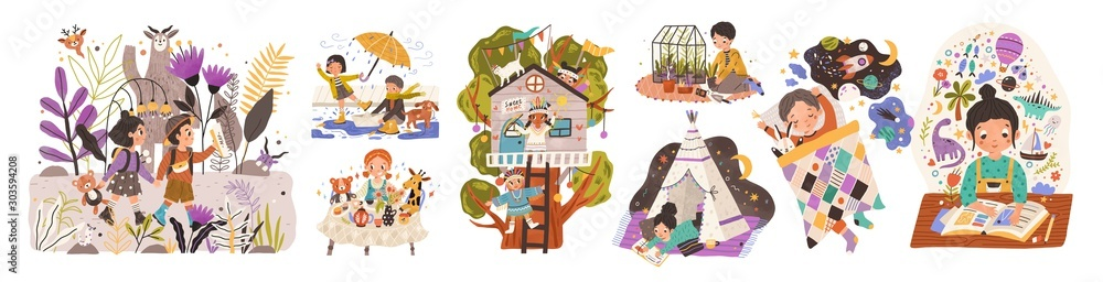 Fototapeta World of childhood flat vector illustrations set. Kids cartoon characters playing games and doing childish activities. Building a shelter, drawing, reading fairy tales. Children dreams and imagination