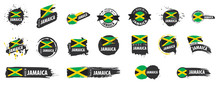 Vector Set Of Flags Of Jamaica On A White Background