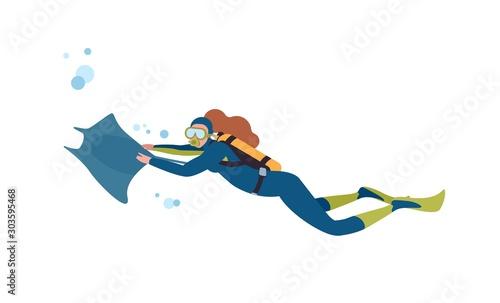 Female diver flat vector illustration Canvas Print