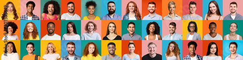 Collage of mixed race happy people on bright backgrounds