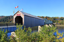 Covered Wooden Bridge In Florenceville, New Brunswick