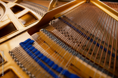 Inside Piano instrument for music background. Tablou Canvas