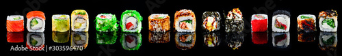 Fototapeta large set of sushi maki isolated obraz