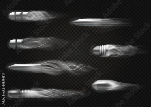 Fototapeta Realistic flying bullet.