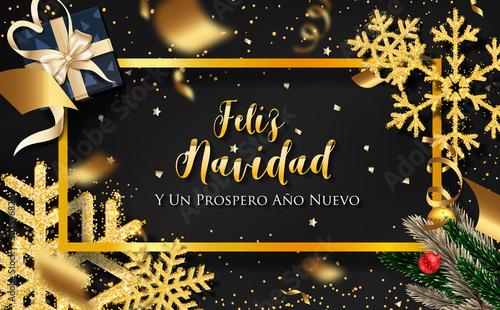 Fototapeta Spanish Christmas (Feliz Navidad) and Happy New Year 2020 greeting card