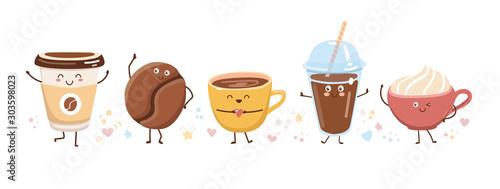 Photo Set of cute coffee characters in trendy kawaii style