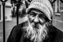 Homeless Man, Close Up Portrai...