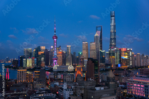 Foto auf Leinwand Shanghai The view of the city center of Shanghai, China