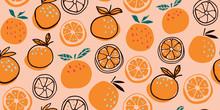 Stylish Citrus Oranges Fruits Seamless Pattern