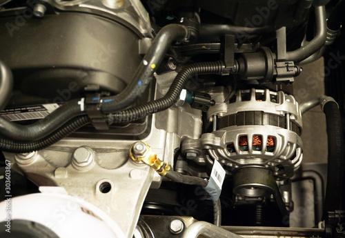 New car alternator, close-up view Canvas Print