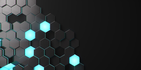 Black geometric hexagonal abstract background. Surface polygon pattern with b...