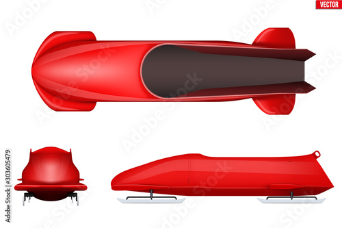 Canvas-taulu Set of Classic bobsleigh for two athletes