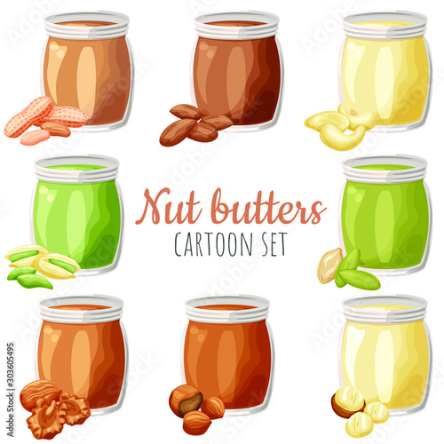 Stampa su Tela Nut butters different spread set vector illustrations, cartoon isolated colorful nut butter flavours in a jar