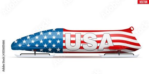 Carta da parati Bob sleighs with USA flag and text