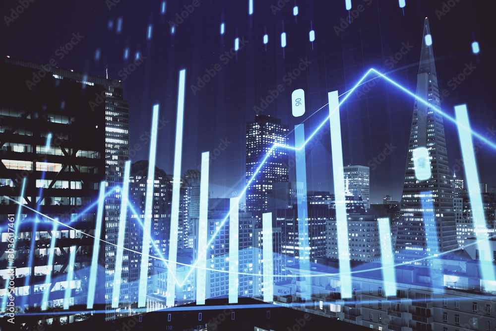 Fototapety, obrazy: Financial graph on night city scape with tall buildings background multi exposure. Analysis concept.