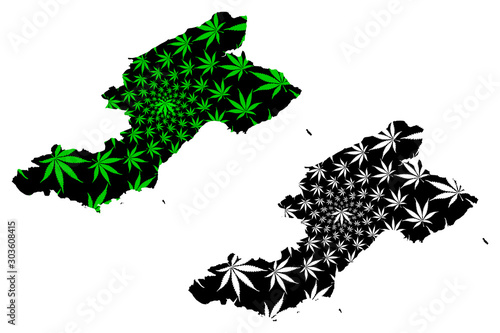 Tableau sur Toile Fife (United Kingdom, Scotland, Local government in Scotland) map is designed cannabis leaf green and black, Kingdom of Fife map made of marijuana (marihuana,THC) foliage