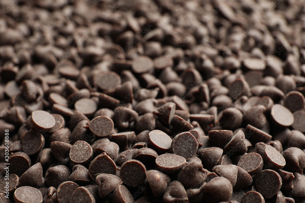 Fototapety, obrazy: Delicious chocolate chips as background, closeup view