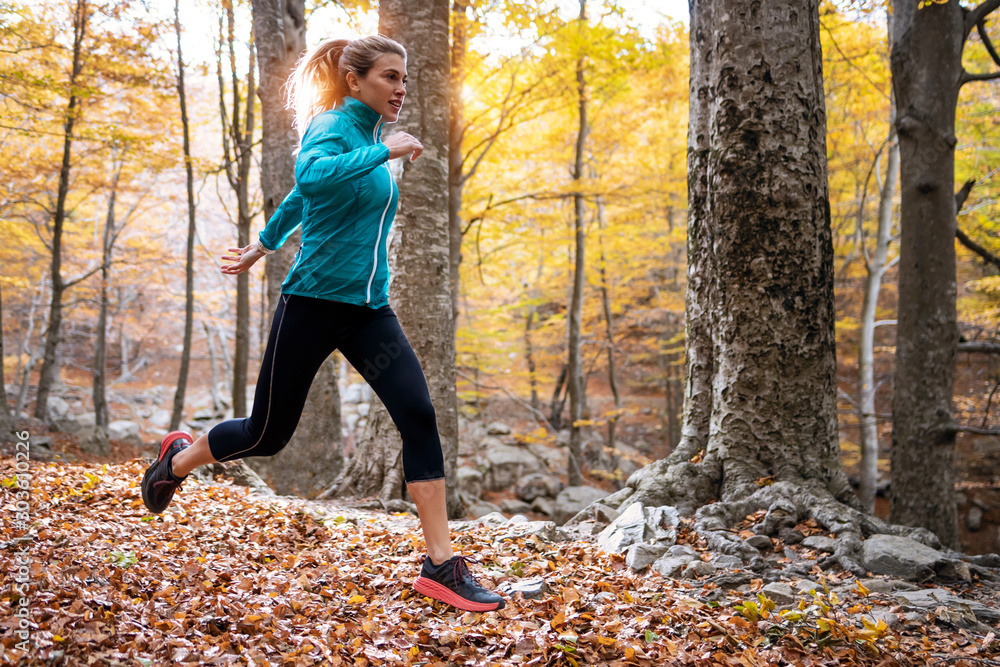 Fototapeta Sporty young woman running in the park in the autumn morning.
