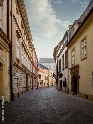 Leinwand Poster  Street in old town of Krakow city, Poland