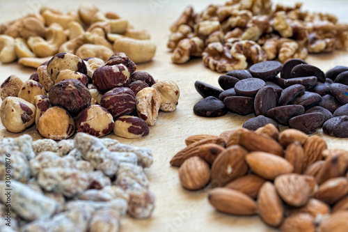 Closeup on Nuts and Chocolate
