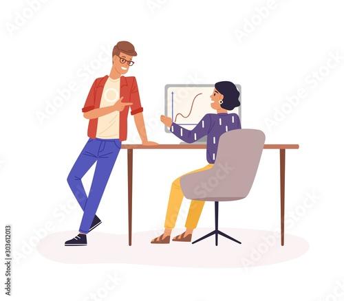 Fotomural Office work flat vector illustration